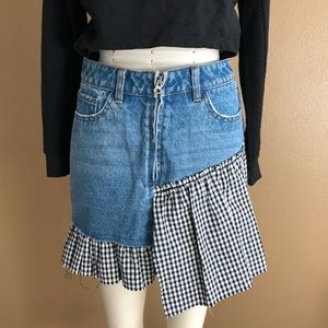 Denim Skirt w/ Black & White Gingham